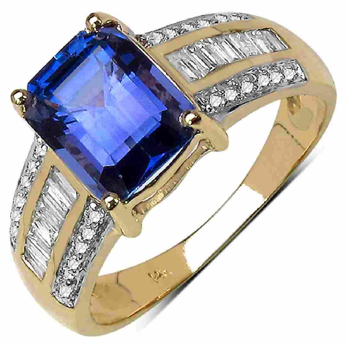 2.76 CTW Tanzanite & 0.44 CTW Diamond Ring 14K Yellow
