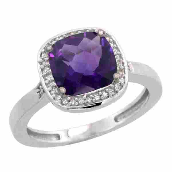Natural 3.94 ctw Amethyst & Diamond Engagement Ring 10K