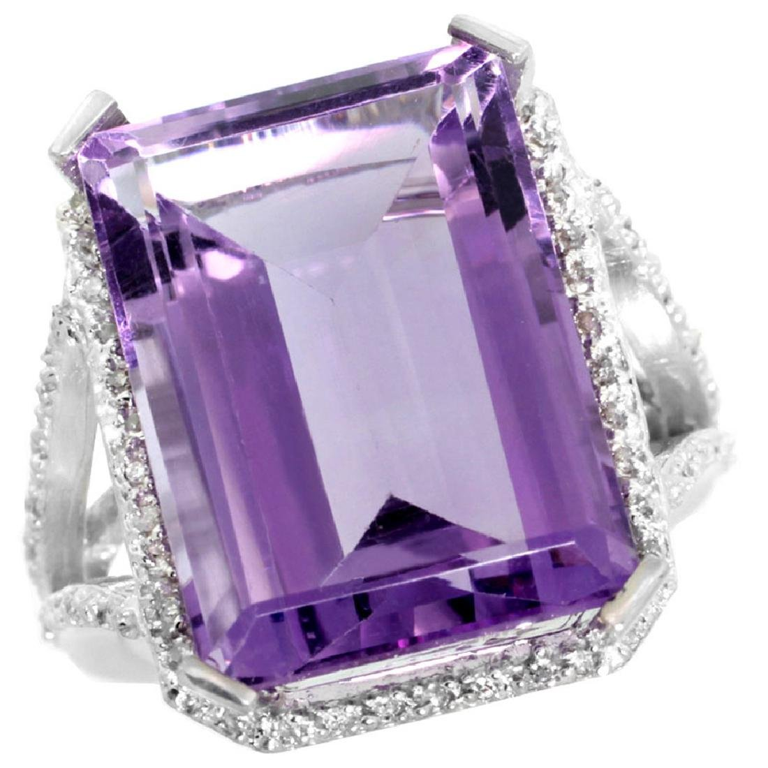 Natural 13.72 ctw amethyst & Diamond Engagement Ring