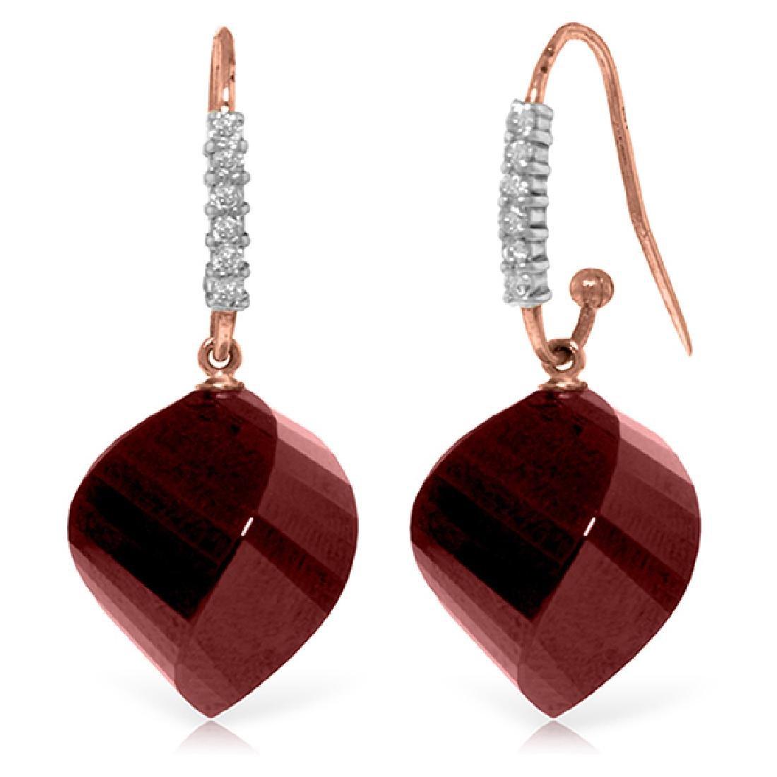 Genuine 30.68 ctw Ruby & Diamond Earrings Jewelry 14KT
