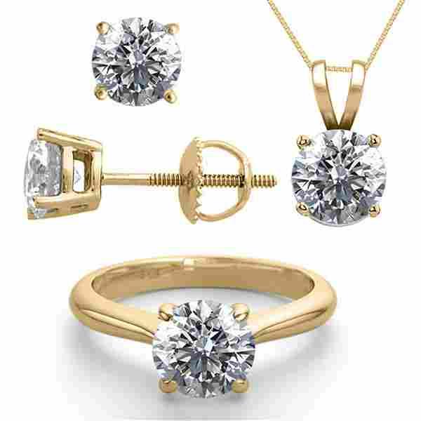 14K Yellow Gold SET 60CTW Natural Diamond Ring