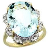 Natural 1383 ctw aquamarine  Diamond Engagement Ring
