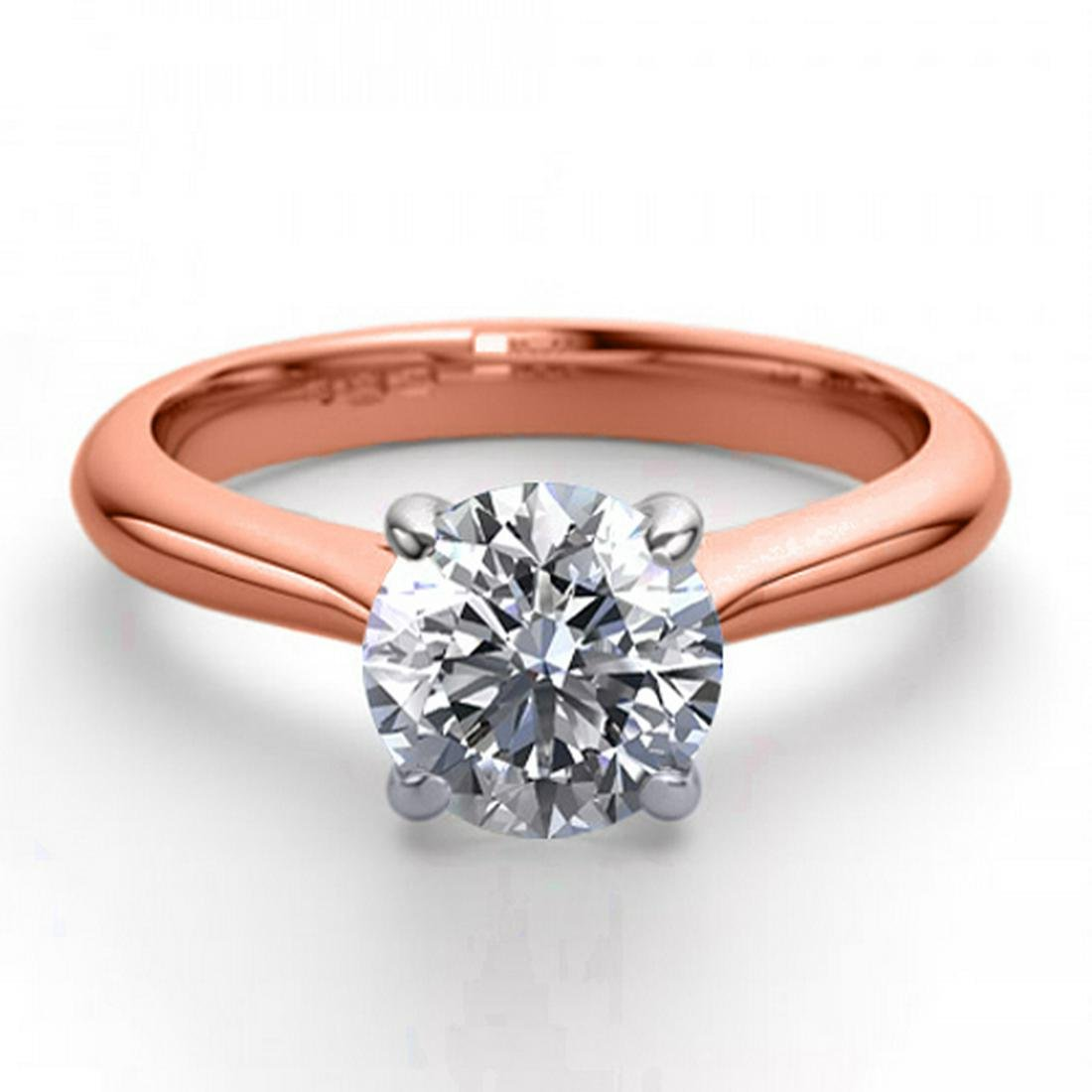 14K Rose Gold 1.24 ctw Natural Diamond Solitaire Ring -