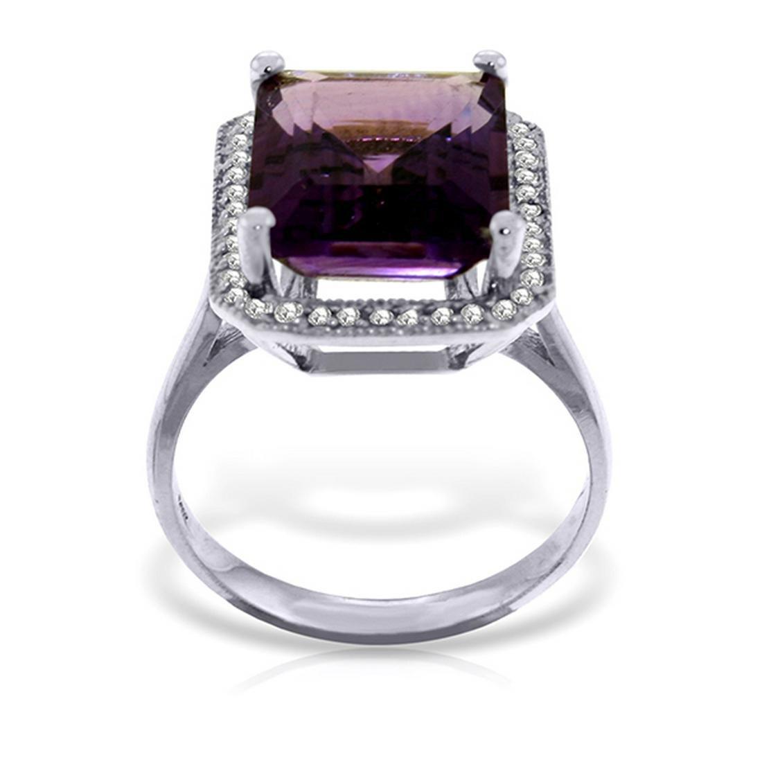 Genuine 5.8 ctw Amethyst & Diamond Ring Jewelry 14KT