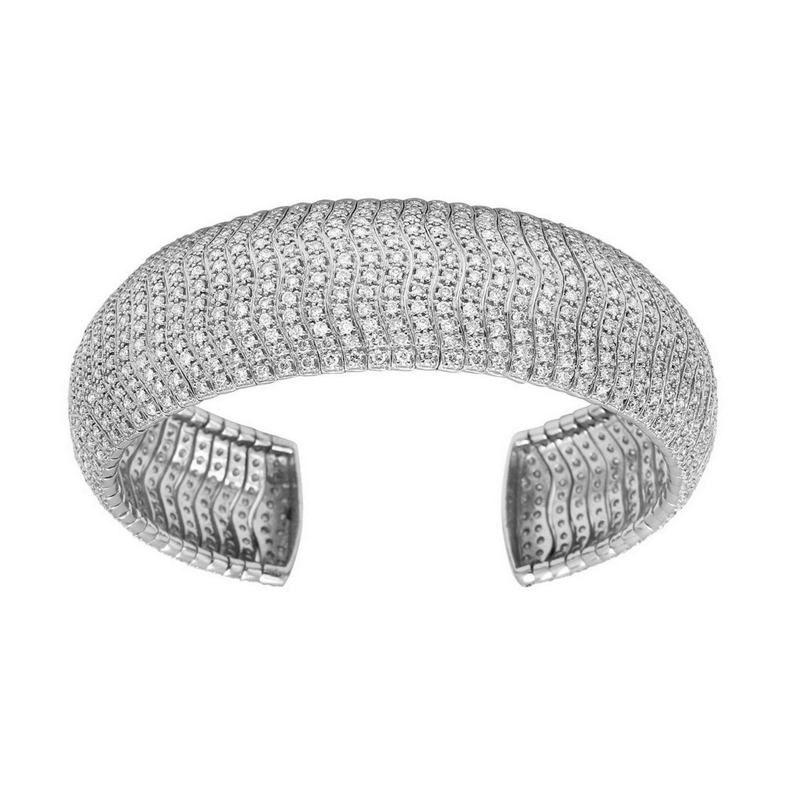 Natural 11.74 CTW Diamond Bangle 14K White Gold -