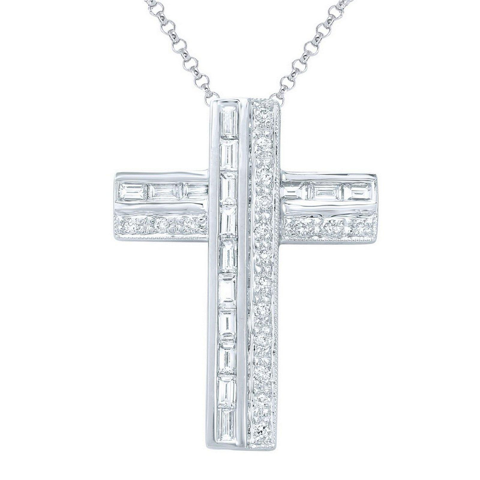 Natural 0.73 CTW Diamond Necklace 18K White Gold -