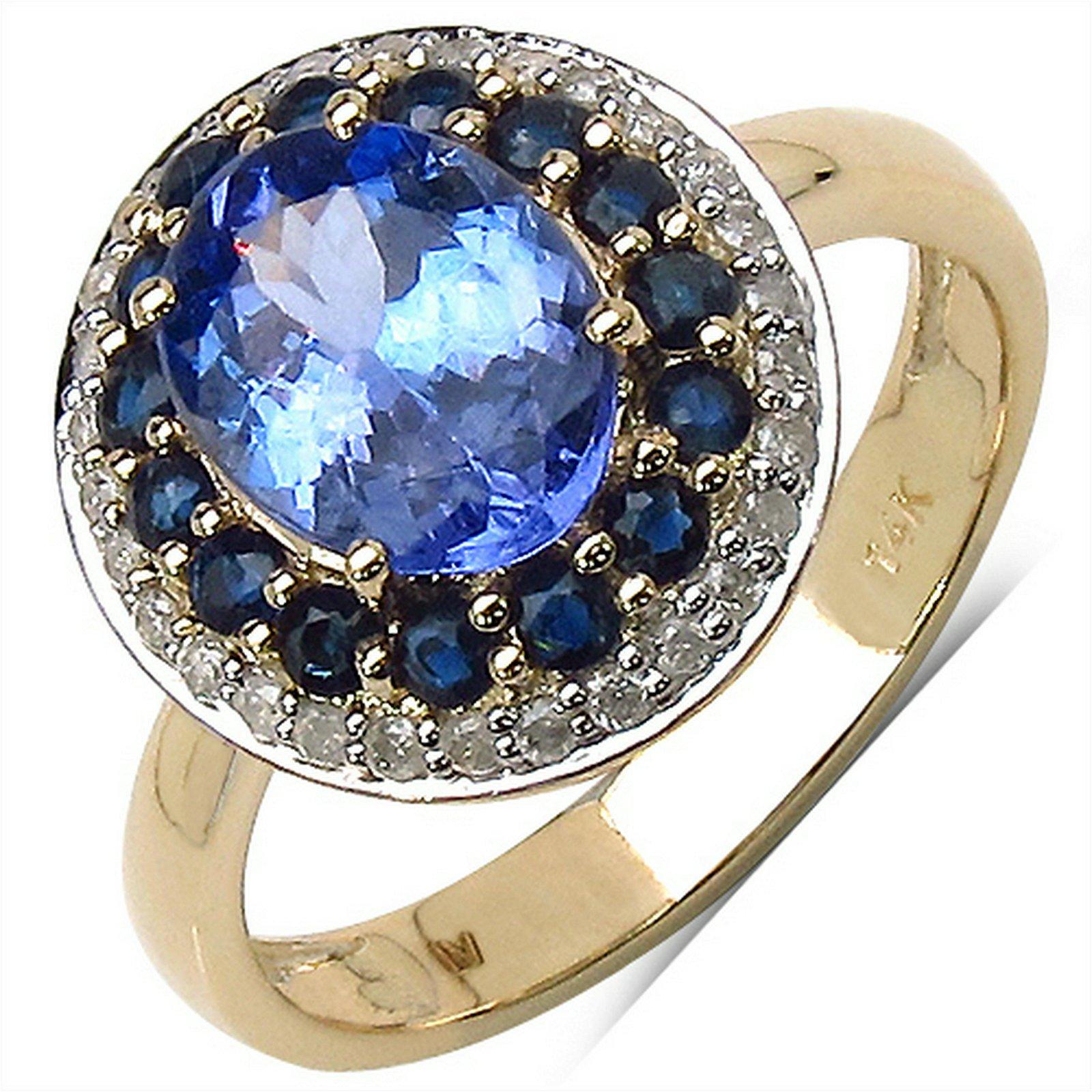 2.73 CTW Tanzanite, Blue Sapphire & Diamond Ring 14K