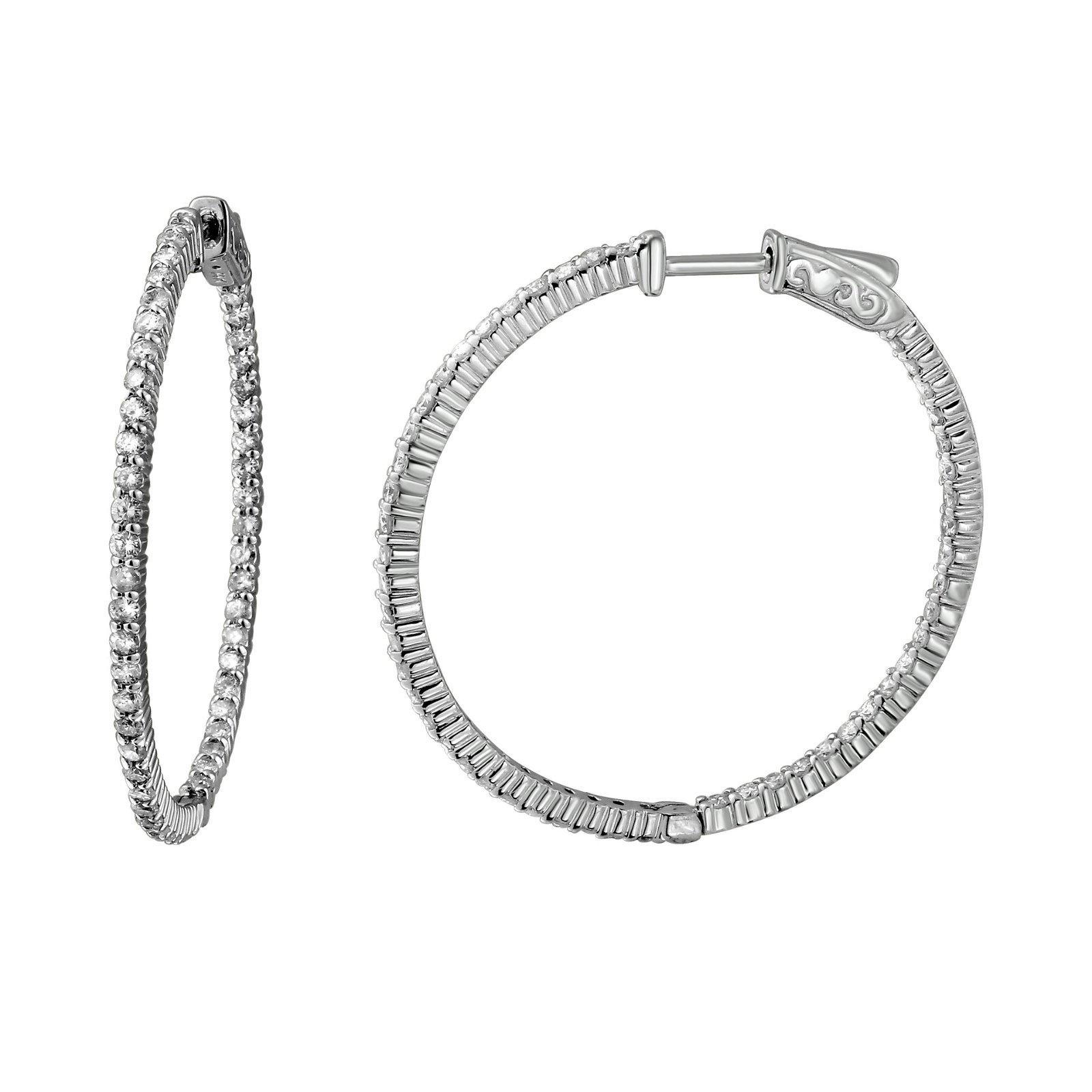 Natural 1.97 CTW Diamond Earrings 14K White Gold -
