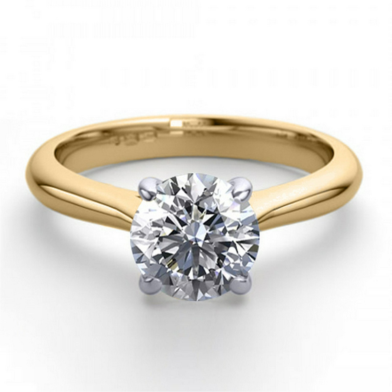 14K 2Tone Gold 1.36 ctw Natural Diamond Solitaire Ring