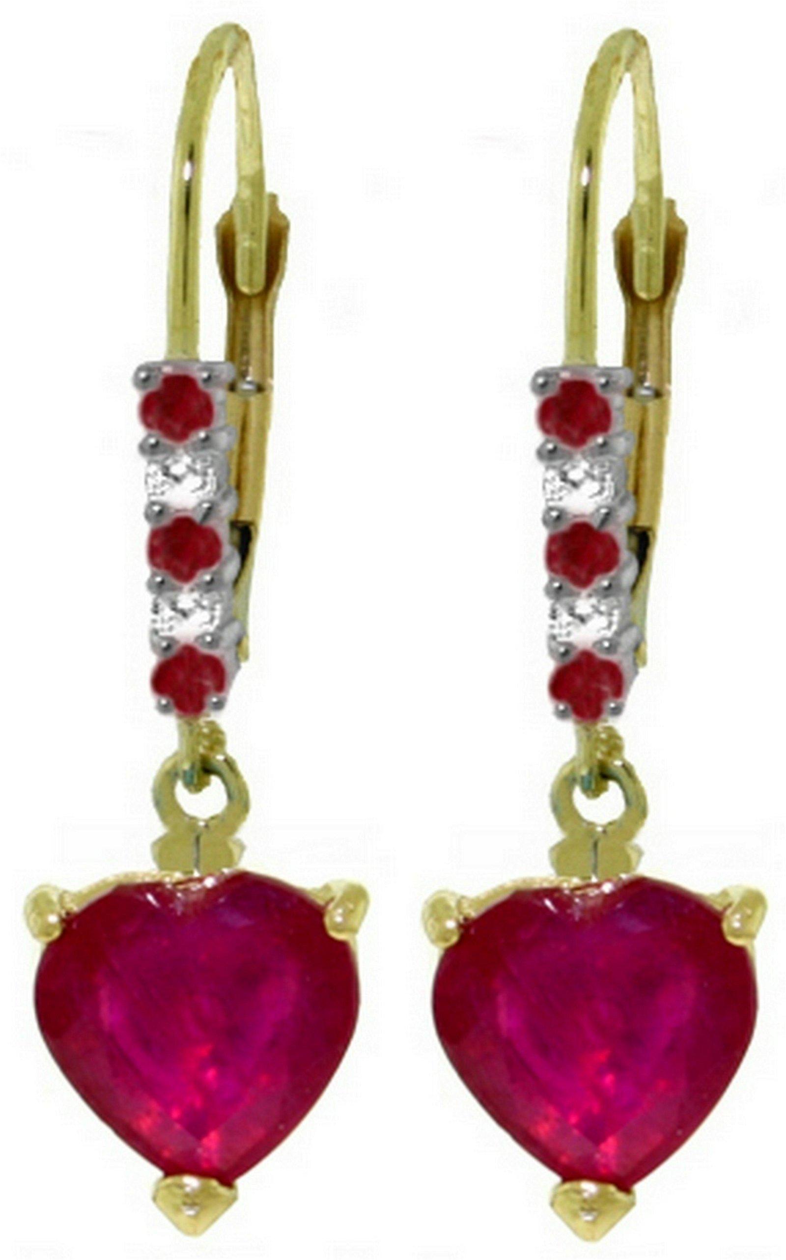 Genuine 2.98 ctw Ruby & Diamond Earrings Jewelry 14KT