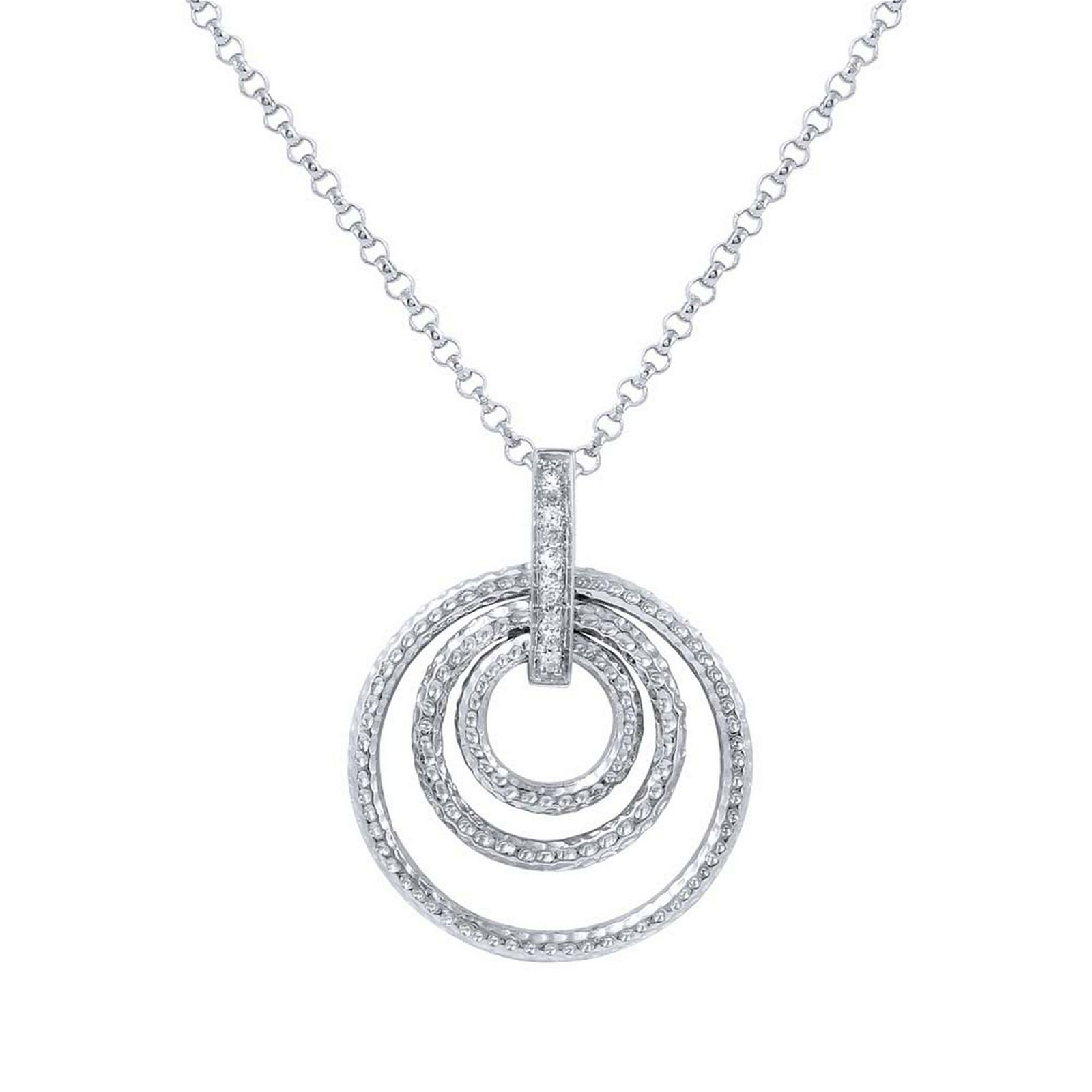 Natural 0.05 CTW Diamond Necklace 14K White Gold -