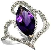 Natural 333 ctw Amethyst  Diamond Engagement Ring 14K