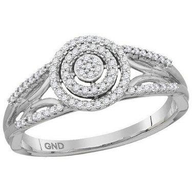 0.20 CTW Diamond Cluster Bridal Engagement Ring 10KT