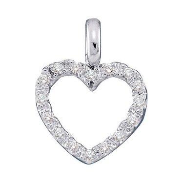 0.10 CTW Diamond Heart Love Pendant 10KT White Gold -