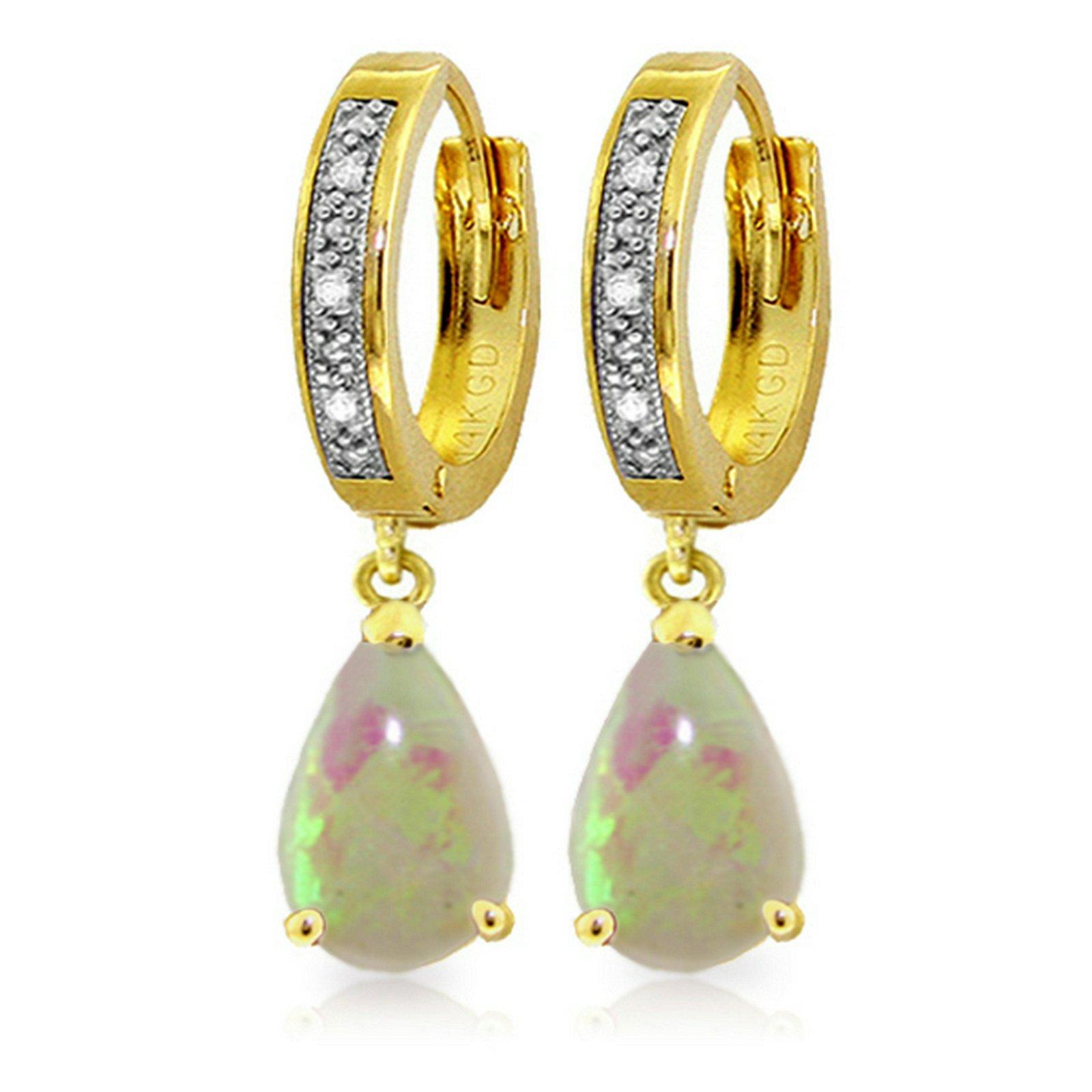 Genuine 1.58 ctw Opal & Diamond Earrings Jewelry 14KT