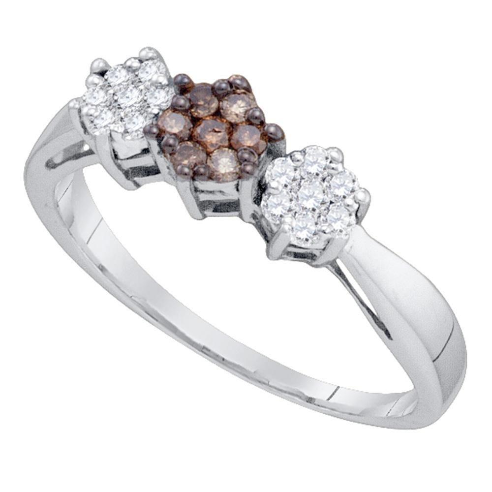 0.25 CTW Cognac-brown Color Diamond Cluster Ring 10KT