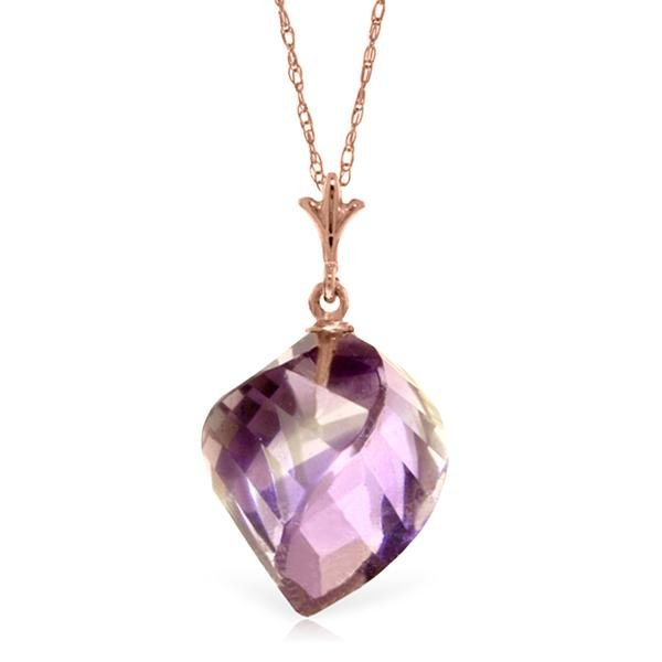 Genuine 10.75 ctw Amethyst Necklace Jewelry 14KT Rose
