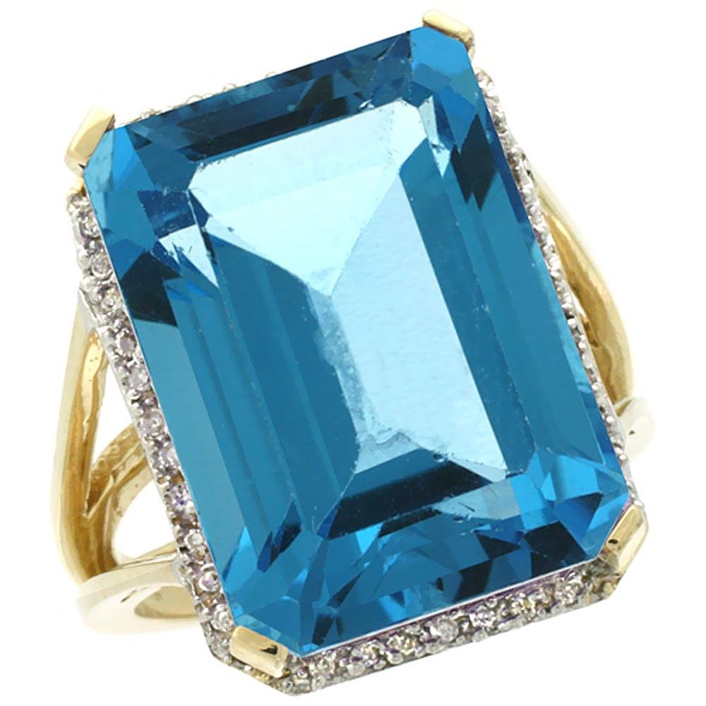 Natural 15.06 ctw London-blue-topaz & Diamond