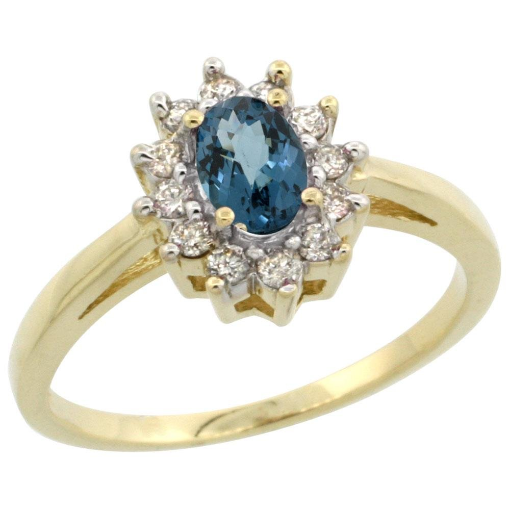 Natural 0.67 ctw London-blue-topaz & Diamond Engagement