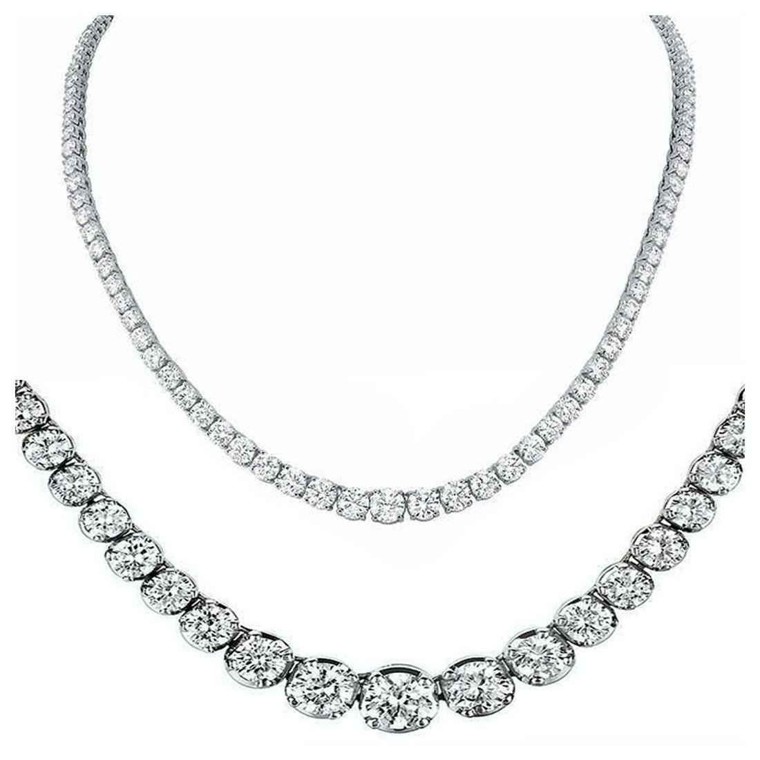 Natural 11.21CTW VS2/I-J Diamond Tennis Necklace 14K