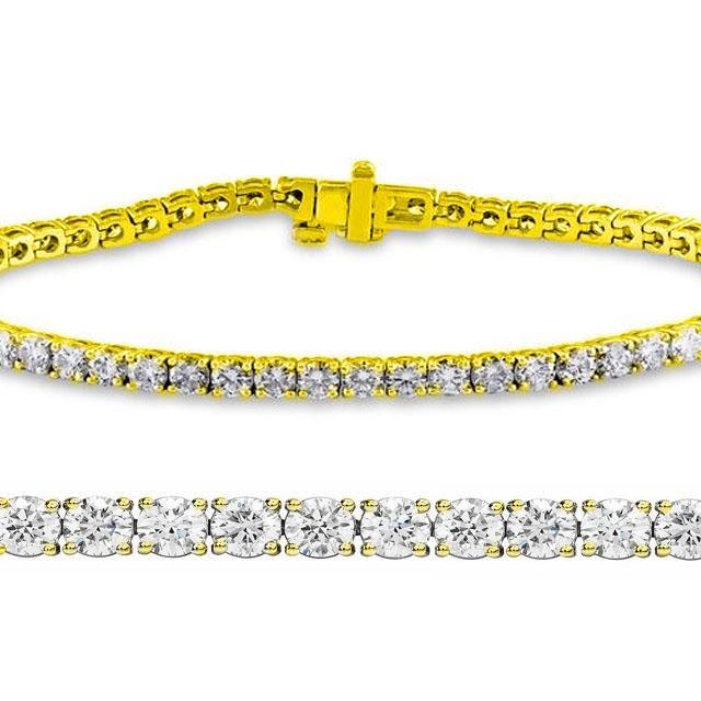 Natural 2ct VS-SI Diamond Tennis Bracelet 18K Yellow