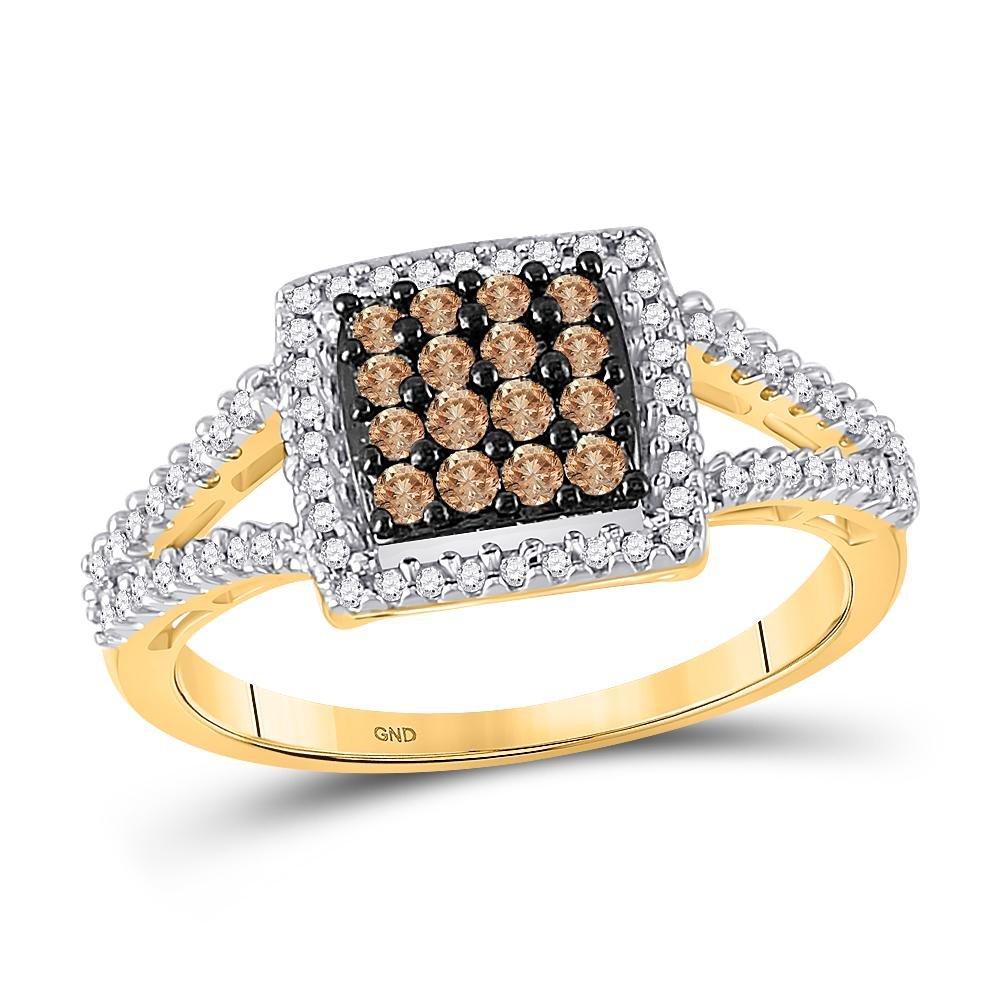 0.50 CTW Cognac-brown Color Diamond Square Cluster Ring