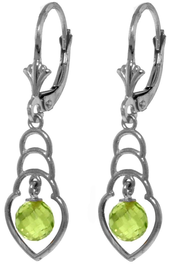 Genuine 1.25 ctw Peridot Earrings Jewelry 14KT White