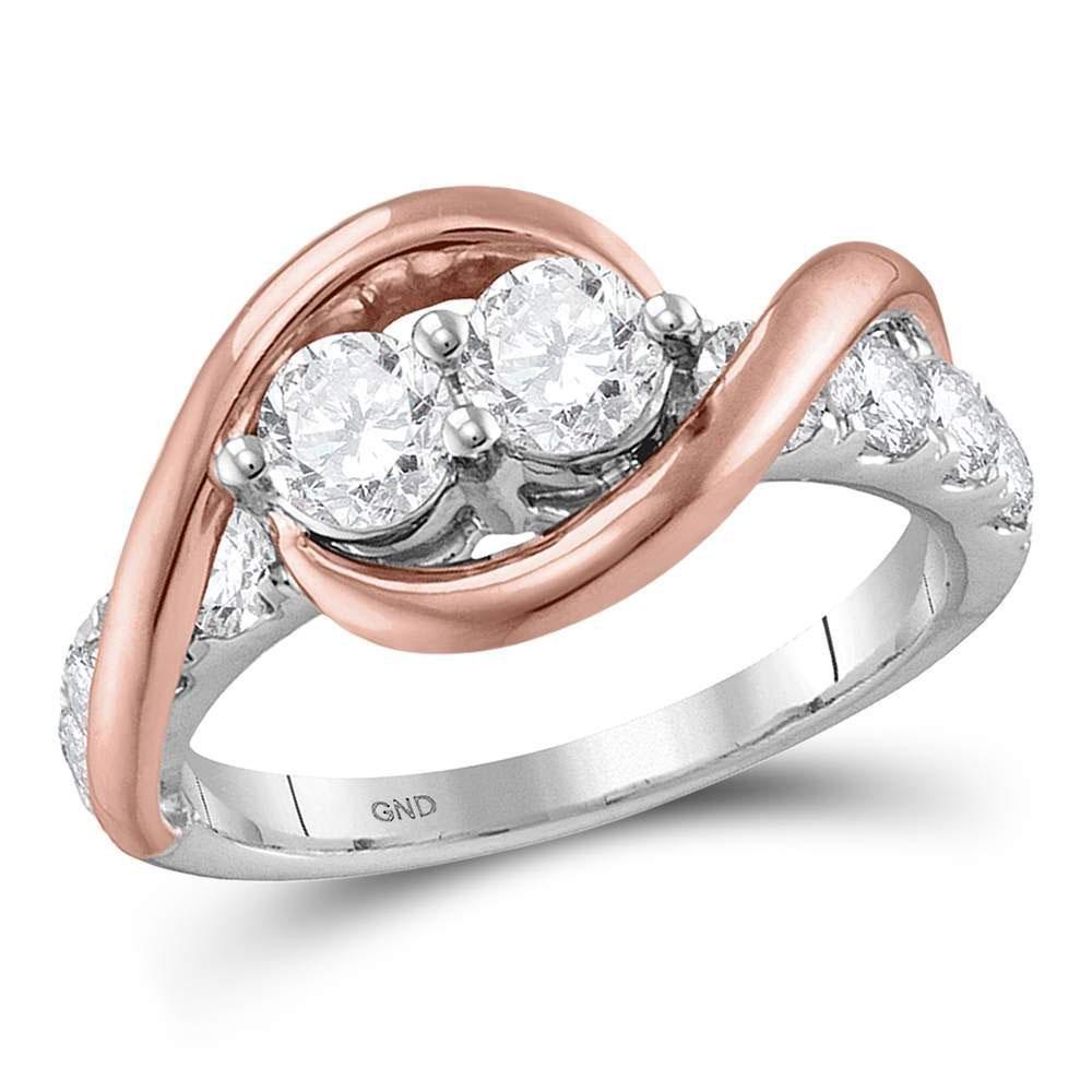 1 CTW Diamond 2-stone Bridal Wedding Engagement Ring