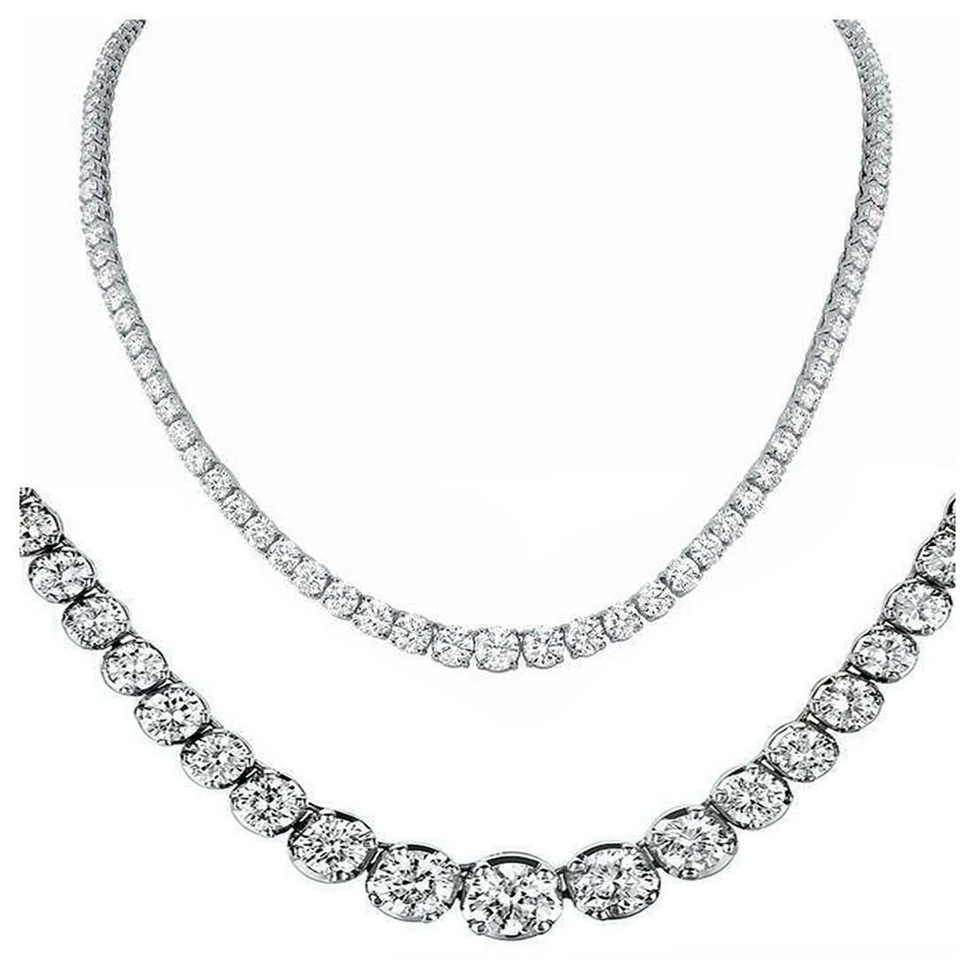 Natural 8.69CTW VS2/I-J Diamond Tennis Necklace 14K