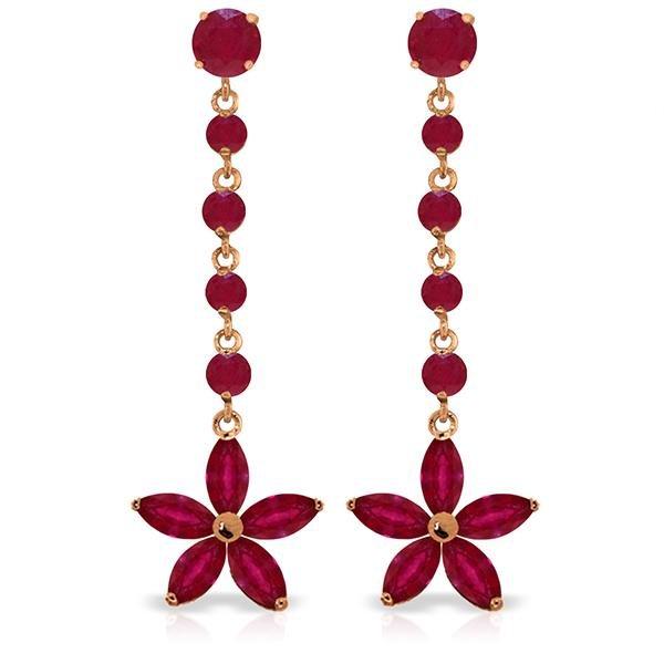 Genuine 4.8 ctw Ruby Earrings Jewelry 14KT Rose Gold -