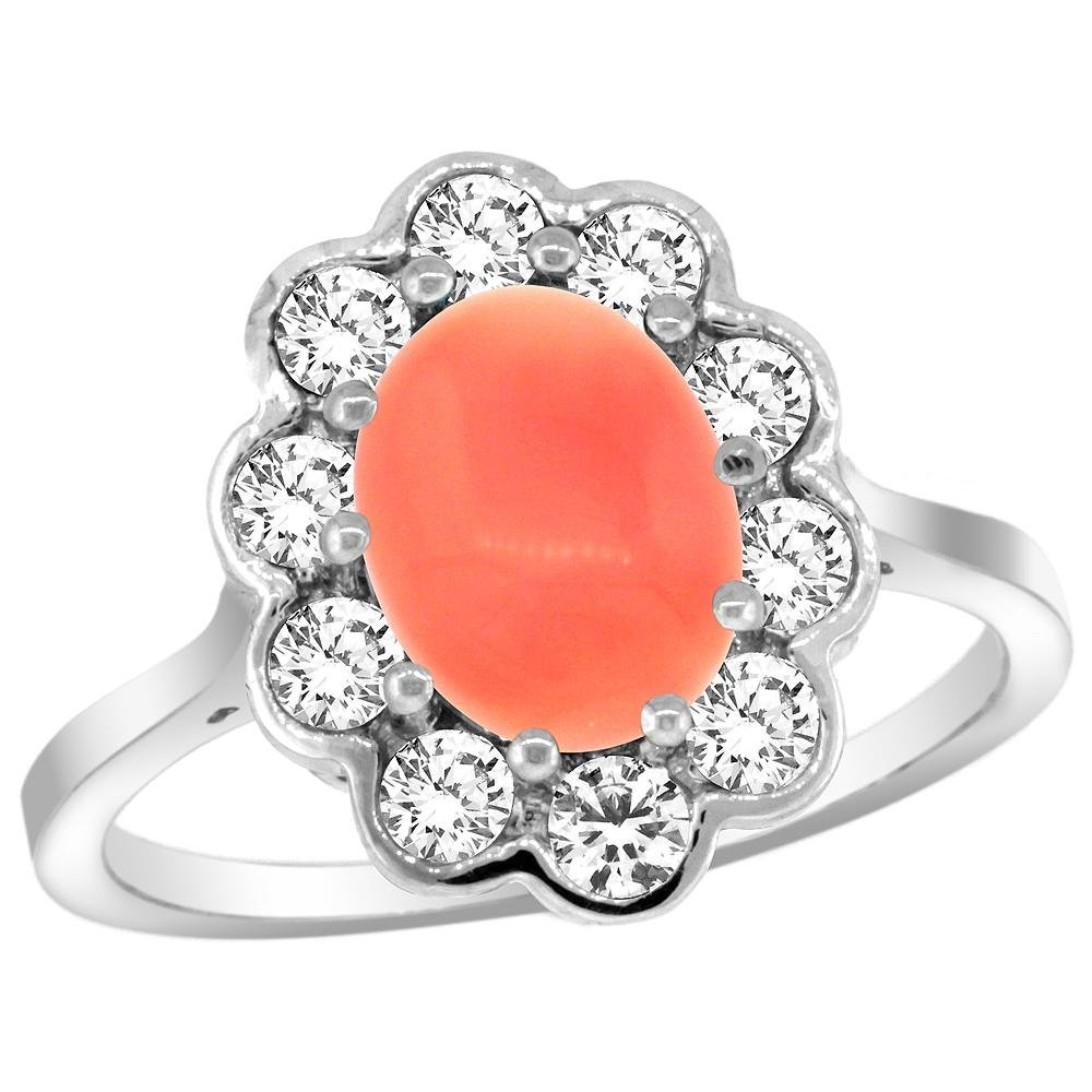 Natural 2.58 ctw Coral & Diamond Engagement Ring 14K