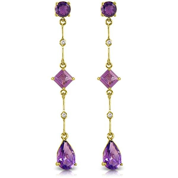 Genuine 6.06 ctw Amethyst & Diamond Earrings Jewelry
