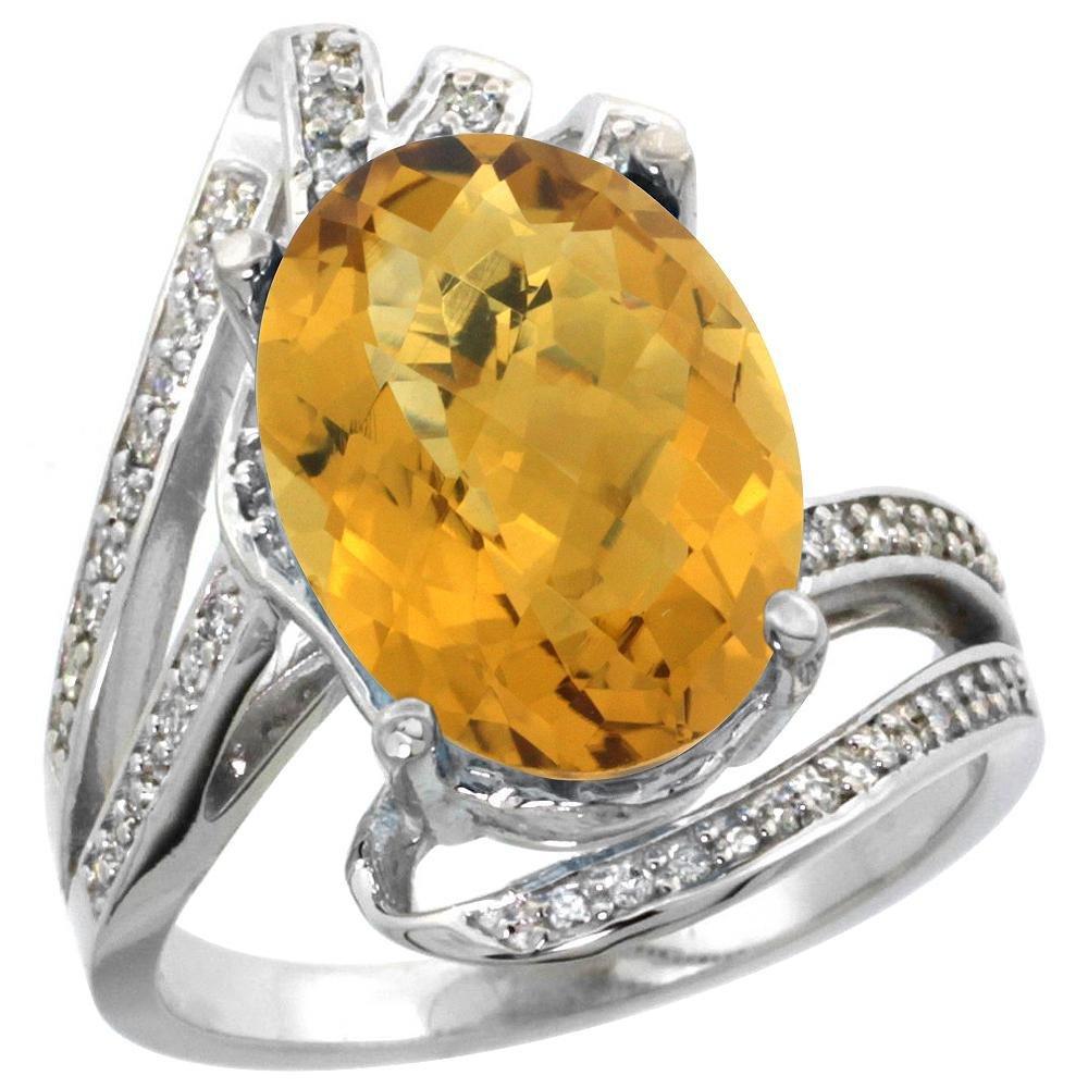 Natural 5.76 ctw quartz & Diamond Engagement Ring 14K