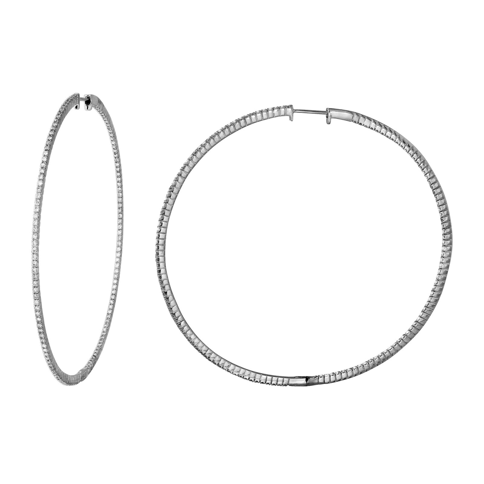 Natural 1.43 CTW Diamond Earrings 14K White Gold -
