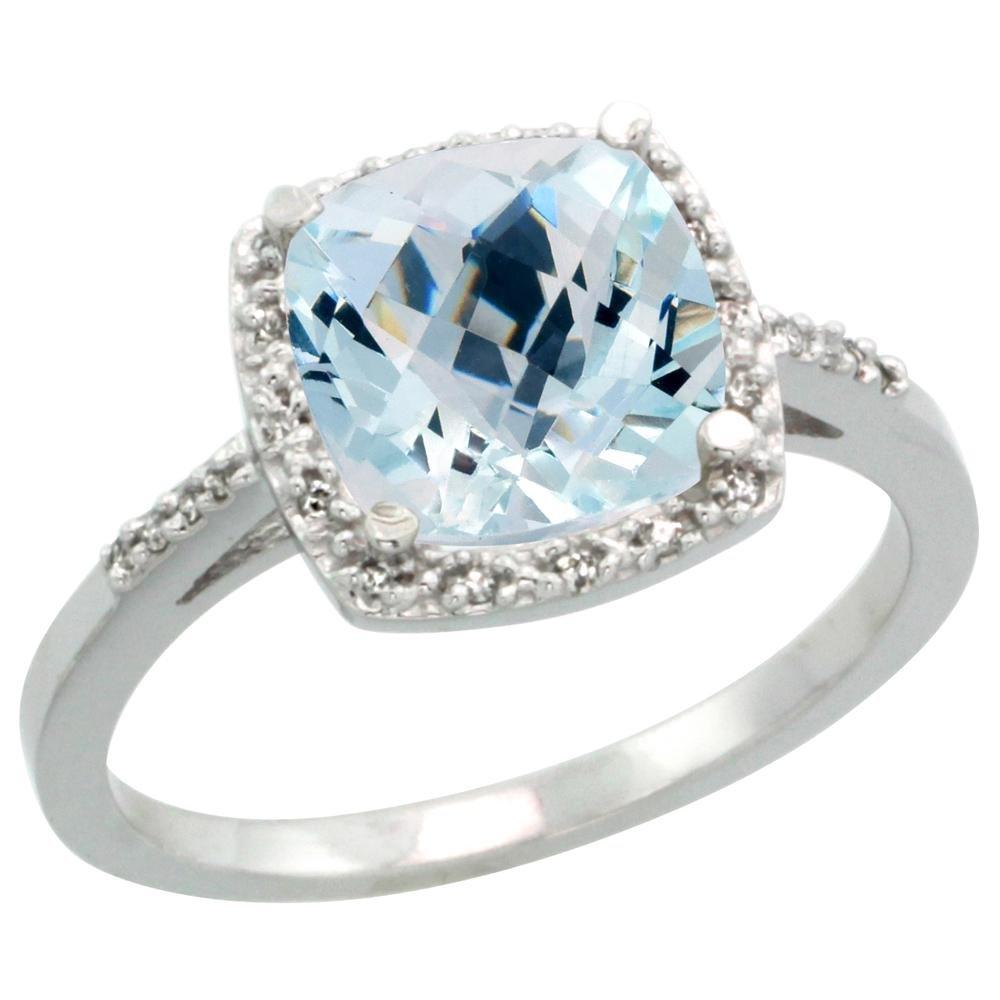 Natural 3.92 ctw Aquamarine & Diamond Engagement Ring