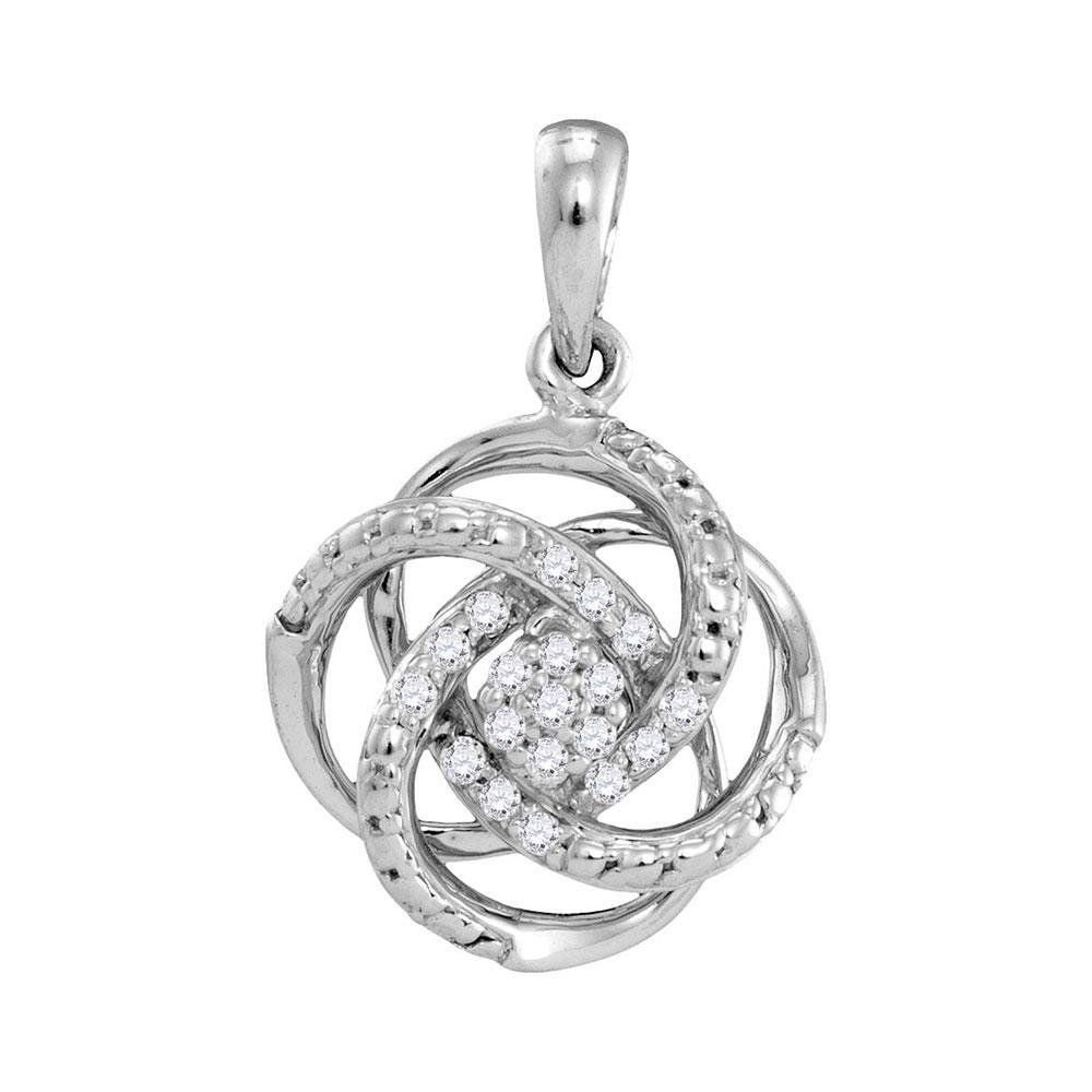 0.10 CTW Diamond Cluster Pendant 10KT White Gold -