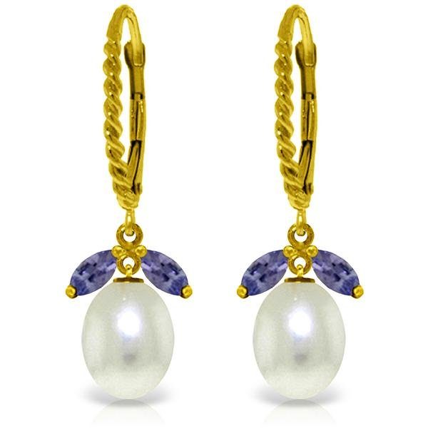 Genuine 9 ctw Tanzanite & Pearl Earrings Jewelry 14KT