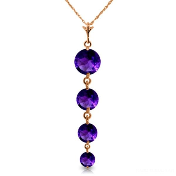 Genuine 3.9 ctw Amethyst Necklace Jewelry 14KT Rose