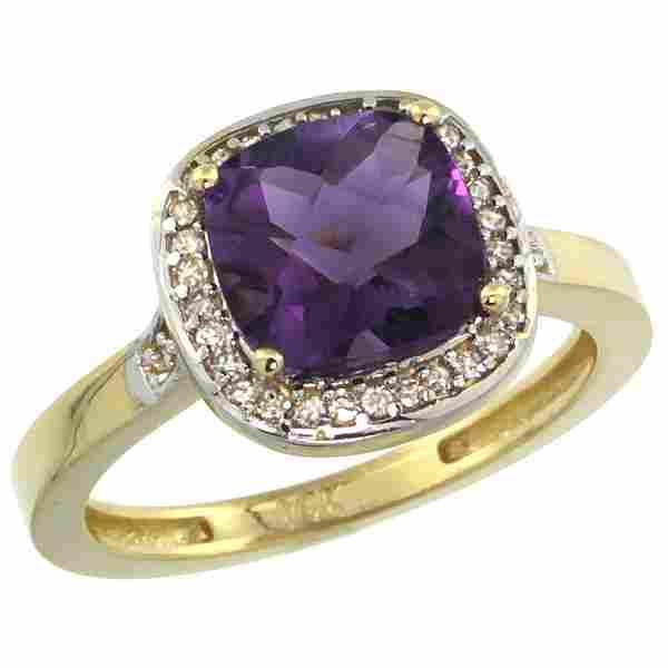 Natural 3.94 ctw Amethyst & Diamond Engagement Ring 14K