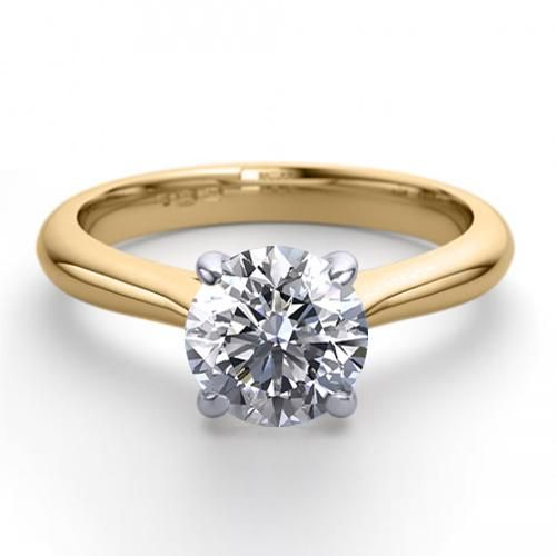 14K 2Tone Gold 1.41 ctw Natural Diamond Solitaire Ring