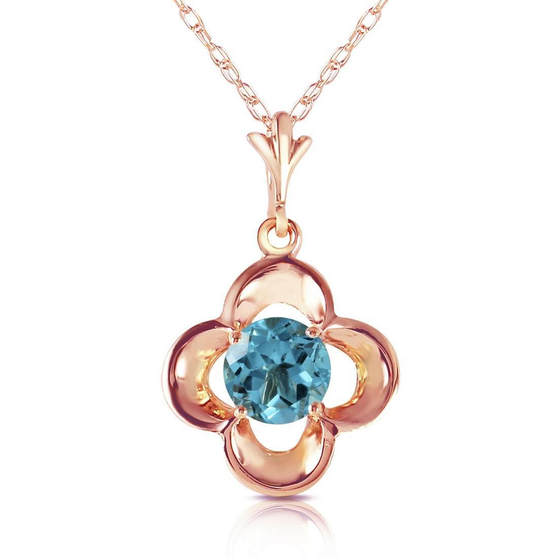 Genuine 0.55 ctw Blue Topaz Necklace Jewelry 14KT Rose