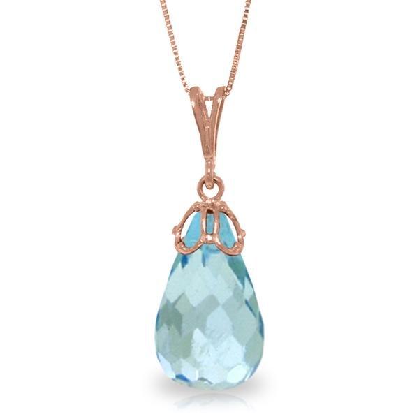 Genuine 10.25 ctw Blue Topaz Necklace Jewelry 14KT Rose