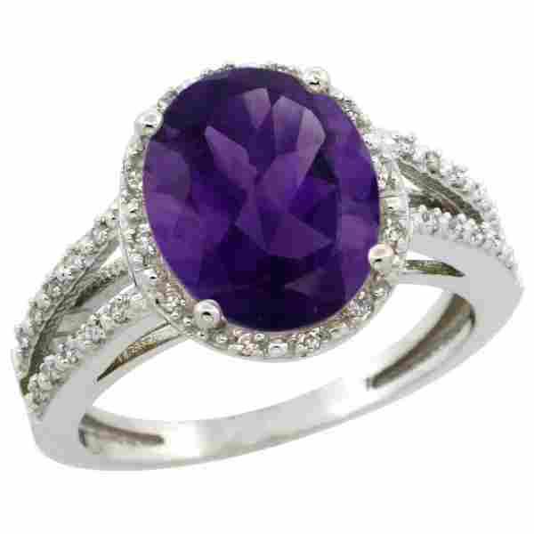 Natural 3.47 ctw Amethyst & Diamond Engagement Ring 14K