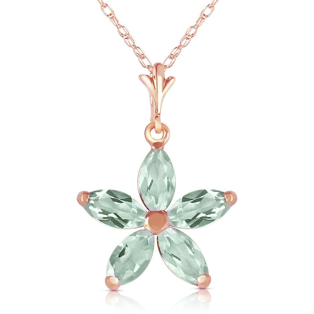 Genuine 1.40 ctw Green Amethyst Necklace Jewelry 14KT