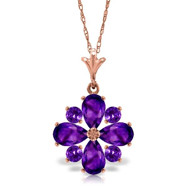 Genuine 2.43 ctw Amethyst Necklace Jewelry 14KT Rose
