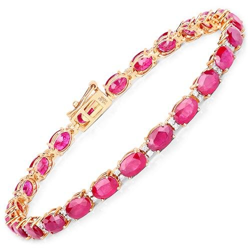 13.50 CTW Ruby & Diamond Bracelet 14K Yellow Gold -