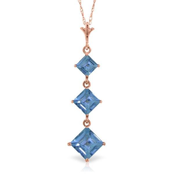 Genuine 2.4 ctw Blue Topaz Necklace Jewelry 14KT Rose