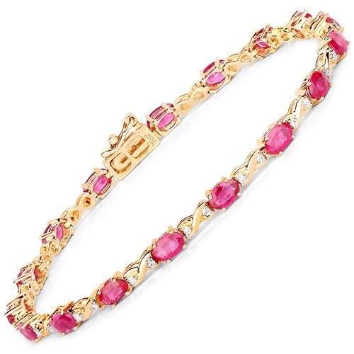 4.46 CTW Ruby & Diamond Bracelet 14K Yellow Gold -