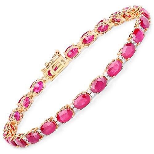 13.50 CTW Ruby & Diamond Bracelet 14K Yellow Gold -