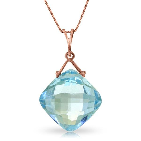 Genuine 8.75 ctw Blue Topaz Necklace Jewelry 14KT Rose
